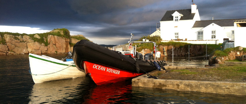 Oceanvoyager RIB moored in Rutland Island